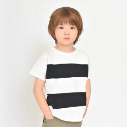 ワイドボーダー切替半袖Tシャツ