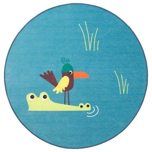 DJUNGELSKOG ジュンゲルスコグ ラグ 平織り, 鳥, ブルー, 100 cm