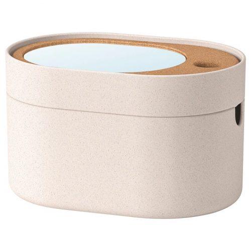 SAXBORGA サクスボルガ 収納ボックス ミラーのふた付き, プラスチック コルク, 24x17 cm