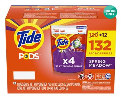 「タイドポッズ スプリング メドウ 洗濯洗剤 132個入り」(¥3,988/オンライン価格)