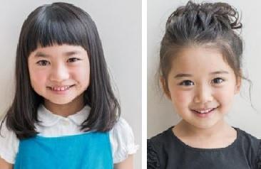 下の写真のように、前髪の有無で顔の印象は大きく変わります! 短いぱっつん前髪もキュートだし、前髪のないヘアスタイルも新鮮。鏡の前で、子供と一緒に考えてみるの